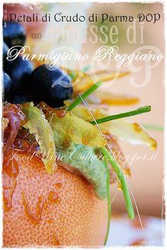 """""""Petali di Prosciutto di Parma DOP con mousse di Parmigiano Reggiano DOP invecchiato 60 mesi e glassa agrodolce di Agrumi di Sicilia caramellati al Balsamico di Modena DOP, la ricetta di Lisa del blog """"Food Wine And Culture"""" http://foodwineculture.blogspot.it/2014/07/petali-di-crudo-di-parma-dop-con-mousse.html"""