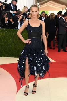 Amber Valletta in an H&M dress and Gianvito Rossi shoes