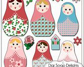 Matryoshka Clip Art - Vintage Rose Russian Nesting Dolls in Cath Kidston, Shabby Chic Style for Digital Scrapbooking, Card Making