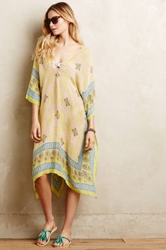 at anthropologie Serranna Caftan in yellow