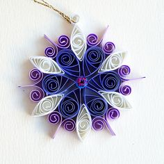 6 point small purple and white quilled snowflake with pink glitter | Flickr - Photo Sharing!