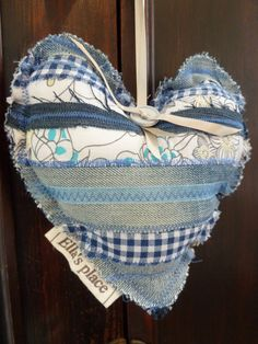recycled denim fabric heart