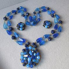Unusual 1950's Vintage Germany Vibrant Blue Genuine Lucite Bead Two-Strand Necklace & Earrings Set