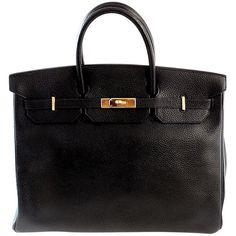 HERMES Birkin 40cm Black Togo Leather Handbag from 2002 found on Polyvore