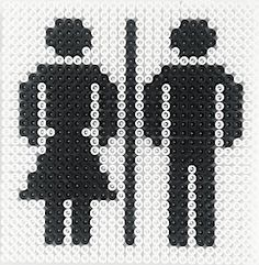 Toilet sign hama perler beads by Hobbyshoppen. would be a fun teacher gift for her bathroom passes. totally washable too! make the girl in a girl color, boy in boy color Bead Crochet Patterns, Hama Beads Patterns, Beading Patterns, Cross Stitch Silhouette, Best Teacher Gifts, Hama Beads Design, Peler Beads, Iron Beads, Melting Beads