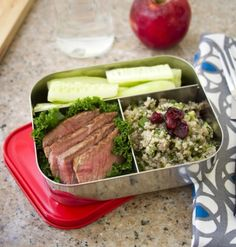 LunchBots Trio Red - Stainless Steel 3 Compartment Food Container LunchBots Trio Stainless Steel Food Containers feature three compartments for balanced snacks: grapes, cheese and crackers; sushi, edamame and carrots; pasta, chicken and cherry tomatoes—the combinations are endless! Whatever you pack, LunchBots make meals more appetizing, helping ensure your food containers return home empty.