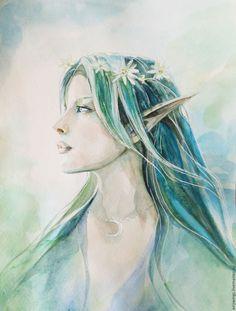 """Купить """"Эдельвейс"""", эльфийская жрица. Рисунок акварелью. - морская волна, эльфийка, эльф, эдельвейс, сказка"""