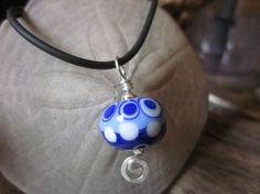Sterling Silver White and Blues Lampwork Bead by BlueberryBayBeads, $24.00