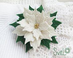 White Poinsettia Christmas Flower Felt Brooch  Handmade Christmas Gift for Her