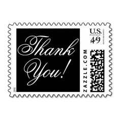 Thank You in black and white cursive font Postage Stamp