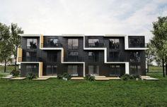Module housing in Sweden Architecture Portfolio Layout, Interior Architecture, Interior Design, Minimalist House Design, Minimalist Home, Urban Concept, Building Design, Building Ideas, Sweden House