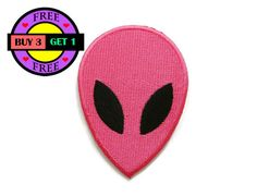 PRODUCT DETAILS:  Pink Alien Head Face Cartoon UFO Embroidered Iron On Patch…