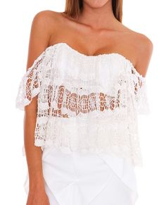 Love Story Lace Crop Top White