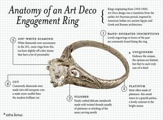 Anatomy of an art deco engagement ring an # engagement ring - Anatomy of an art deco engagement ring - Art Deco Wedding Rings, Art Deco Ring, Antique Engagement Rings, Engagement Jewelry, Antique Rings, Antique Art, Bridesmaid Jewelry, Wedding Jewelry, Diy Jewelry