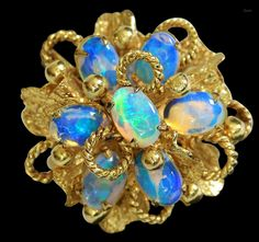 14K Opal Cluster Dome Cocktail Ring 6 3/4