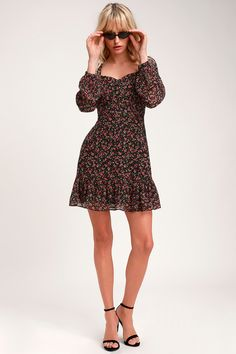 e02eee1a8e Favorite Flower Black Floral Print Long Sleeve Mini Dress Ditsy Floral