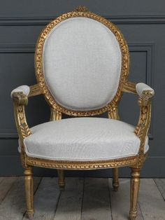 Louis XVI Open Arm Rose Carved Gold Gilt Chair