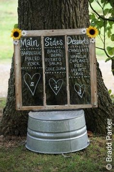 DIY Chalkboard Window Wedding Sign