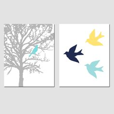 Again with the splash of blue...I like it! Set of Two 8 x 10 Prints - Birds and Trees - Bathroom, Nursery, Kitchen, Bedroom - Gray, Green, Baby Blue, Pink, Yellow, Orange, and More. $39.50, via Etsy.