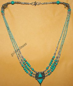 Tibetan Nepalese coral Turquoise Necklace 20 inches by goldenlines