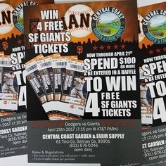 IT'S RAFFLE TIME!! Now through April 21st , spend $100 or more and be entered to WIN 4 free San Francisco Giants tickets.  Dodgers vs Giants  April 25th , 7:15 at AT&T Park  Central Coast Garden Products 61 Tarp Cir  Salinas Ca 93901 831-676-0246  #831 #centralcoast #salinasvalley #montereybay #salinasca #centralcoastgarden #growyourown #montereylocals - posted by centralcoastgarden&farmsupply https://www.instagram.com/centralcoastgardenfarmsupply. See more of Monterey Bay at…