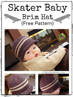 Skater Baby Brim Hat {Free Knitting Pattern} Brooks by Baby Knitting Free, Easy Knitting, Baby Knitting Patterns, Baby Patterns, Crochet Patterns, Knitting Ideas, Knitting Projects, Knitted Blankets, Knitted Hats
