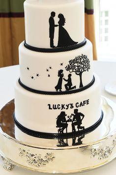 Love story in three tiers. Cute cake idea from a Walt Disney World wedding