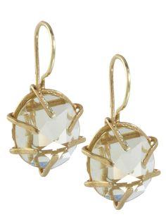18k yellow gold faceted green #amethyst earrings