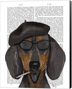 7c49a640c18 Metaverse Hipster Dachshund Black And Tan By Fab Funky Canvas Art