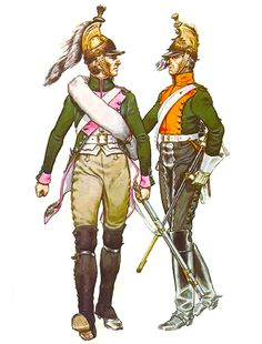 Trooper, 17th Dragoons, 1812 and trooper 30th Dragoons, campaign dress, 1812.