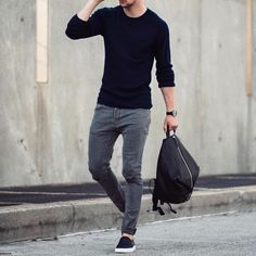 Black sweater gray jeans and #slipons  by @marcelfloruss [ http://ift.tt/1f8LY65…