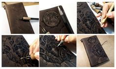 Pyrography(leather burning) on leather notebook cover. Midori traveler's notebook original brown customize