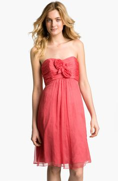 G626C - Amsale Strapless Rosette Detail Silk Chiffon Dress available at Nordstrom.  This dress can be Special Ordered in additional colors and a longer length (G630C).  Please contact the Wedding Suite at Village of Merrick Park for details.