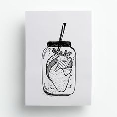 Poster A4 coração ilustração frase