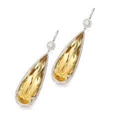 GABRIELLE'S AMAZING FANTASY CLOSET | 18 K White Gold, Beryl & Diamonds Pendant Earrings