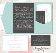 Fun and unique pocket wedding invitation set by Jeneze Designs.  See more at www.jenezedesigns.com.