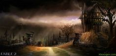 View an image titled 'Town Art' in our Fable 2 art gallery featuring official character designs, concept art, and promo pictures. Fable Ii, Giant Bomb, Gothic Horror, City Landscape, Environment Design, Art Pictures, Art Direction, Character Art, Concept Art