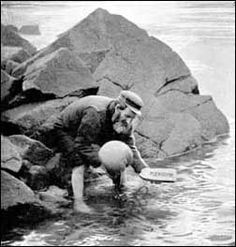 A villager in Hirta in the St Kilda Archipelago, Western Isles, Scotland -- The Evacuation-Sending the mailboat.