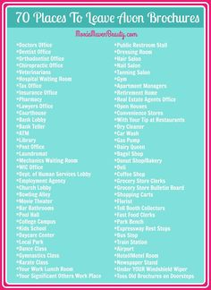 70 Places To Leave Avon Brochures