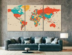 *World Map Art   World Map Print   Beige World Map   World Map Canvas Print   Detailed World Map   Modern World Map* canvas art arrives ready to hang, with hanging accessories included and no additional framing required. Every canvas print is hand-crafted, made on-demand at our studio and expertly World Map Canvas, World Map Wall Art, World Map Decal, Art World, Abstract Canvas, Canvas Wall Art, Detailed World Map, Map Artwork, Marble Painting