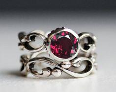 Rhodolite garnet ring set - raspberry pink - recycled sterling silver - January birthstone - anniversary ring set - infinity - Wrought