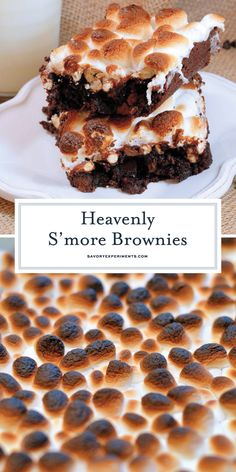S'more Brownies is a delicious homemade brownie recipe made from double chocolate brownies, a layer of crunchy, salty pretzels and gooey marshmallows! Brownie Desserts, Great Desserts, Best Dessert Recipes, Brownie Recipes, Chocolate Recipes, Sweet Recipes, Delicious Desserts, Chocolate Brownies, Drink Recipes