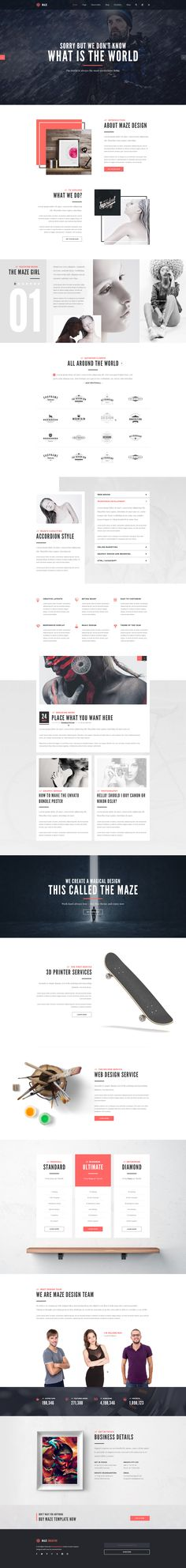 Maze Creative Agency PSD Template on Behance Web Responsive, Design Responsive, Ui Web, Creative Web Design, Web Ui Design, Page Design, Flat Design, Website Design Inspiration, Layout Inspiration
