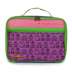 "These food allergy lunch bags are perfect for kids with allergies. The insulated lunch bag reads: ""I have food allergies'. Alerting other to you child's allergies at snack & lunch breaks is important. Lunch Snacks, Lunch Box, School Snacks, Kids Allergies, Purple Bags, Pink Purple, Insulated Lunch Bags, Allergy Free, Kids Bags"