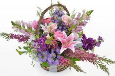 Basket-Pink, lavender and magenta flowers Magenta Flowers, Fresh Flowers, Pink Purple, Beautiful Flower Arrangements, Floral Arrangements, Beautiful Flowers, Anniversary Flowers, Wedding Anniversary, Flower Basket