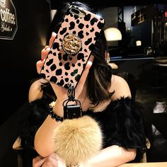 Leopard Airbag Bracket Case with Plush Ball For iPhone Iphone Mobile, Mobile Phone Cases, Iphone Charger, Iphone Cases, Fluffy Phone Cases, Iphone 6 Accessories, Iphone Headphones, Iphone Gadgets, Iphone Holder