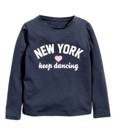 Long-sleeved Top | Dark blue/New York | Kids | H&M US