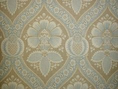Artissimo Robin's Egg Blue by P Kaufman - tan, aqua & cream floral damask print fabric