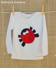 Girl's Long Sleeve T-shirt with Ladybug Applique - Size 2 | Kathryn's Creations | madeit.com.au
