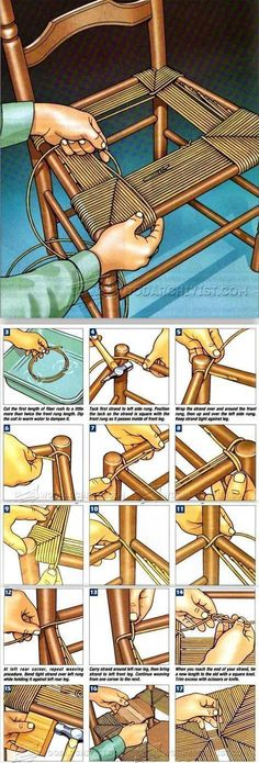 Rush Seat Weaving - Woodworking Tips and Techniques - Woodwork, Woodworking, Woodworking Plans, Woodworking ProjectsRush Seat Weaving with detailed step by step instructions! Looks very involved but I'm going to give it a try!Rush Seat Weaving - an idea Chair Repair, Furniture Repair, Furniture Projects, Wood Projects, Diy Furniture, Handmade Furniture, Wood Crafts, Diy And Crafts, Handicraft